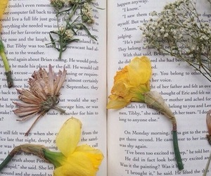 flowers, book, and yellow image