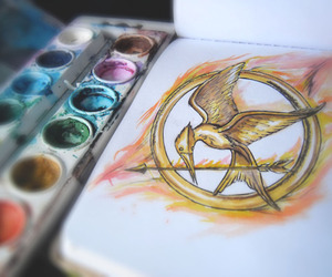 draw, hunger games, and sinsajo image