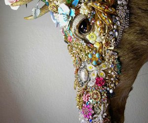 deer, flower, and jewelry image