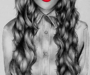 hair, drawing, and lips image
