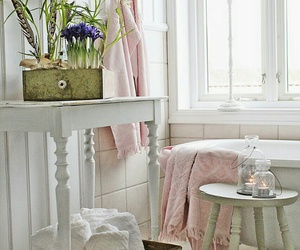 bathroom, home decor, and pink and green image