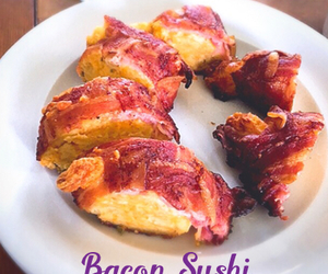 bacon, sushi, and food image