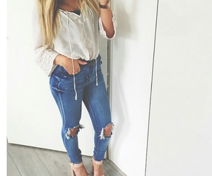 blouse, ripped jeans, and style image