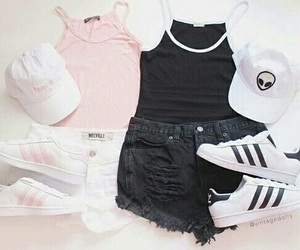 adidas, shorts, and black and white image
