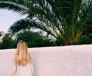 blonde, girl, and palms image
