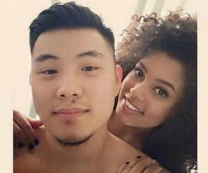 African, mixed couple, and asiatic image