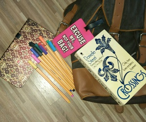 diary, novel, and pens image