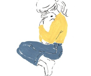 girl, rabbit, and art image