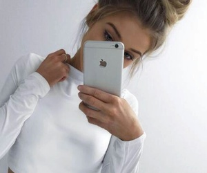 girl, white, and iphone image