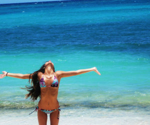 beach, belly button, and long hair image