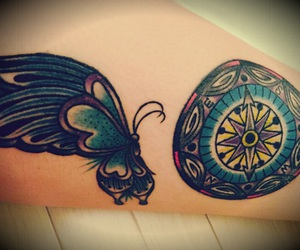 tattoo, collet, and 蝶々 image