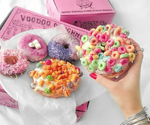 food, pink, and donuts image