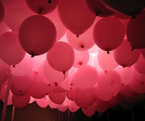 balloons, pink, and red image