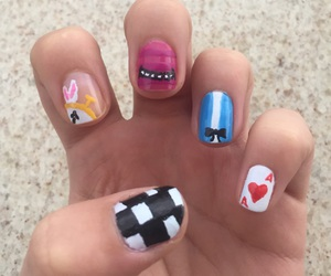 alice in wonderland, nail art, and nails image