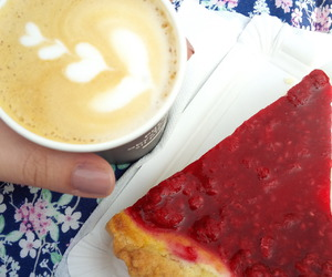 cappuccino, cheesecake, and coffee image