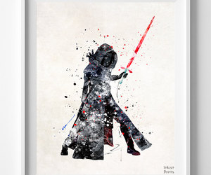 star wars print, star wars decor, and star wars watercolor image