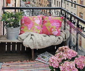 balcony, flowers, and city image
