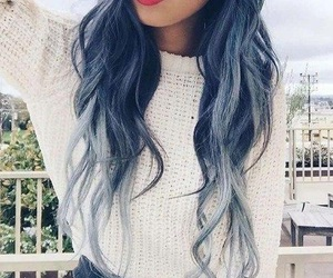 blue hair, girly, and lipstick image
