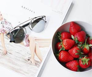 girly and strawberry image