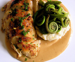 Chicken, food, and sauce image