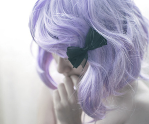 hair, bow, and purple image