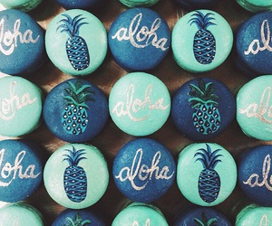Aloha, blue, and pineapple image