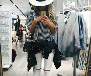 hat, outfit, and ripped jeans image