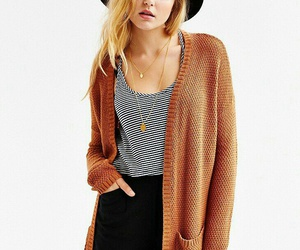 cardigan, girl, and hat image