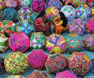 colors, umbrella, and india image