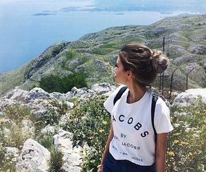 backpack, girl, and ocean image