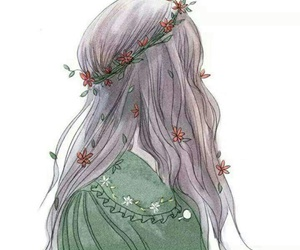 girl, art, and daisy image