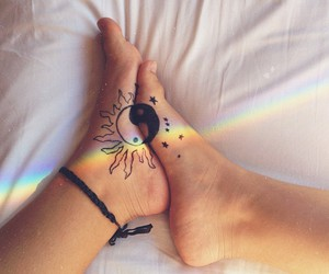 legs, rainbow, and ying yang image