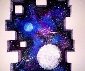 drawing, galaxy, and moon image