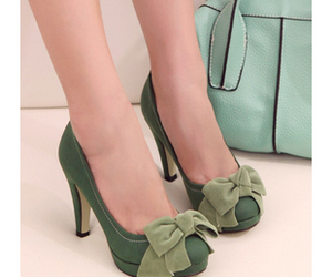 green, heels, and suede image