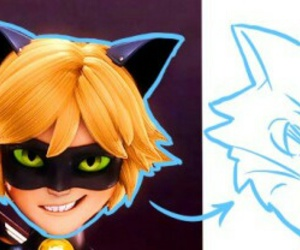 cat, Chat Noir, and miraculous ladybug image