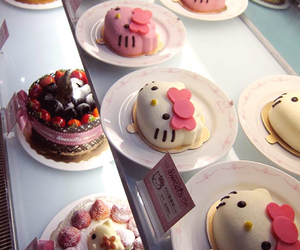 hello kitty, cake, and food image