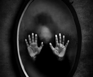 mirror, dark, and hands image