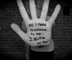 believe, hand, and quote image