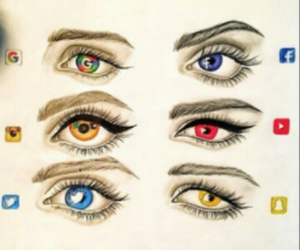 eyes, google, and red image