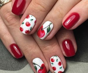 nails, red, and cherry image