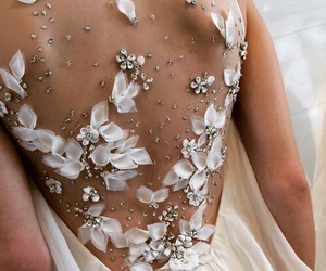 fashion, wedding gown, and floral image