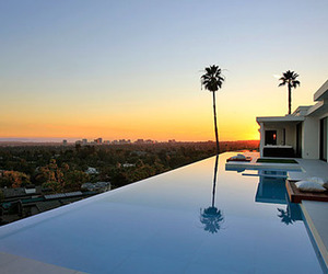 pool, house, and sunset image