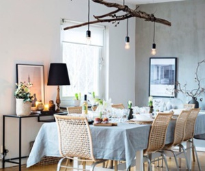 beautiful, dining table, and lights image