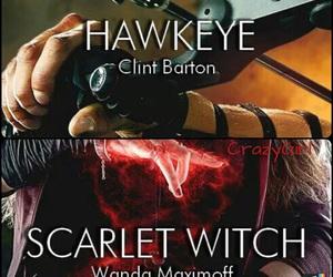 elizabeth olsen, hawkeye, and scarlet witch image