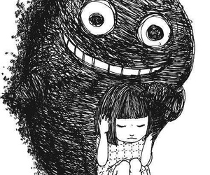 drawing, monster, and black and white image