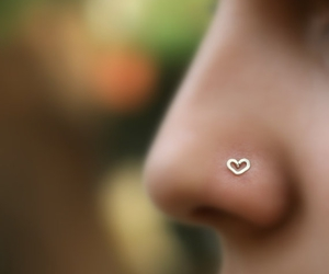 heart, piercing, and nose image