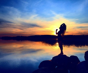 nature, silhouette, and sunset image