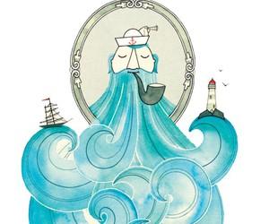 sea, blue, and sailor image