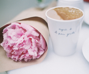 bucket, coffee, and flowers image