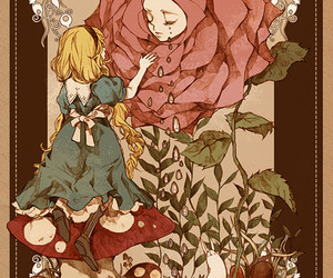alice in wonderland, alice, and rose image